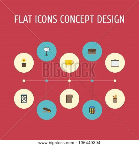 Flat Icons Board Stand, Trash Basket, Calculate Vector Elements
