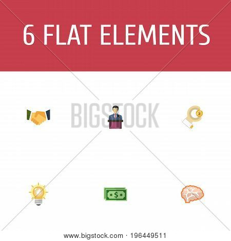 Flat Icons Agreement, Cash, Businessman And Other Vector Elements