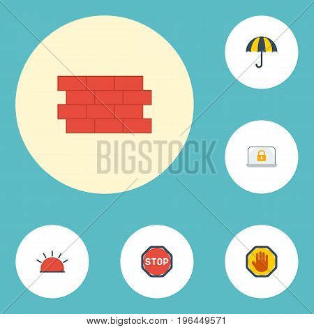 Flat Icons Road Sign, Brick Wall, Parasol And Other Vector Elements