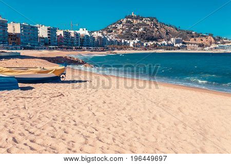 Sea Landscape In Blanes, Catalonia, Spain Near Of Barcelona. Scenic Town With Nice Sand Beach And Cl