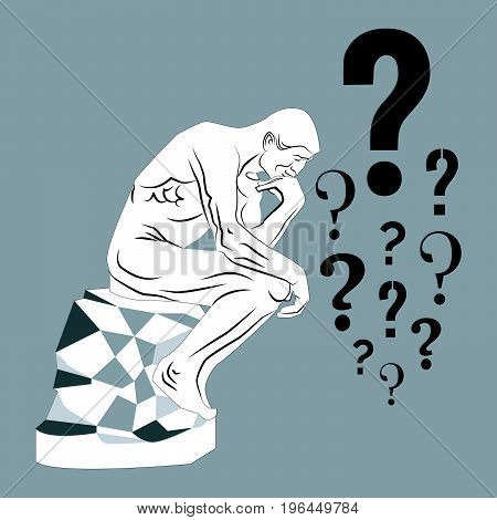 Thinking man and a lot of question marks. Vector illustration on a grey background.