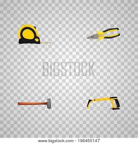 Realistic Pliers, Length Roulette, Arm-Saw And Other Vector Elements
