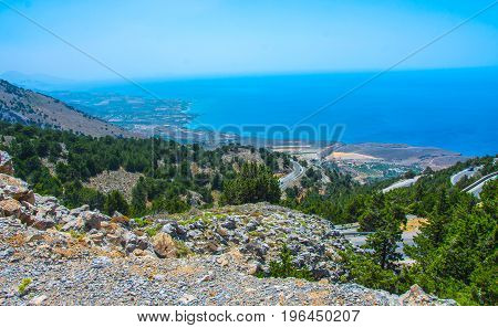 Aerial panoramic view of Preveli palm beach and lagoon near Rethymno in Crete Greece Mediterranean