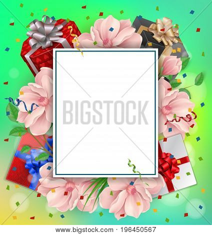Blank greeting card with paper sheet, gifts and flowers. For greeting cards, posters, leaflets and brochures.