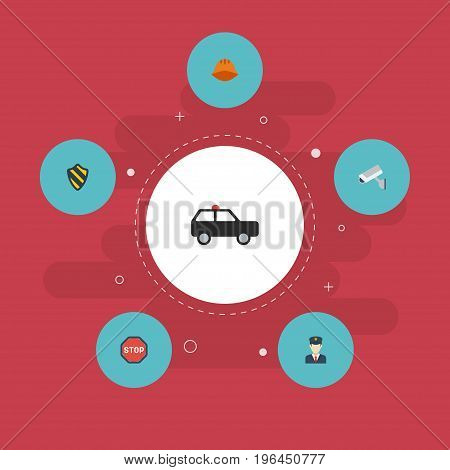 Flat Icons Camera, Policeman, Shield And Other Vector Elements