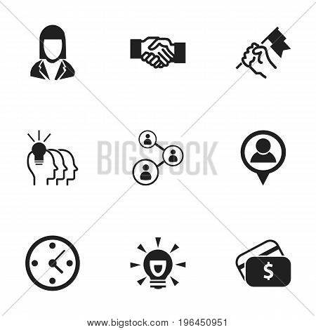 Set Of 9 Editable Job Icons. Includes Symbols Such As Bulb, Clock, Payment And More