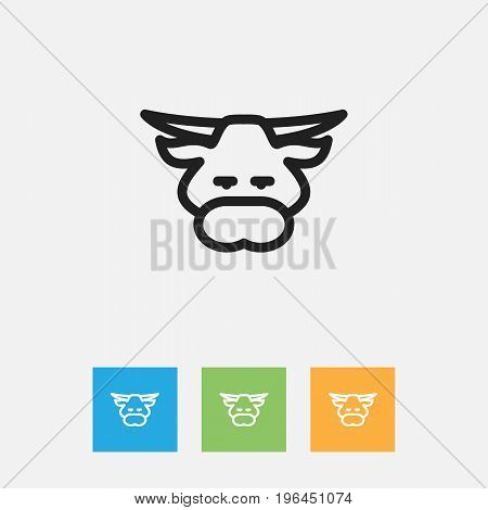 Vector Illustration Of Zoology Symbol On Bull Outline
