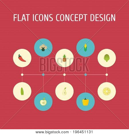 Flat Icons Bean, Herbaceous Plant, Broccoli And Other Vector Elements