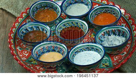 Uzbek sauces.Central Asian cuisine  close up meal