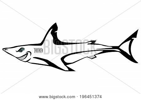 Cartoon shark isolated on the white background. Vector illustration.