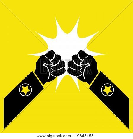 Two fists symbolize the fight. A symbol of conflict isolated on a yellow background.