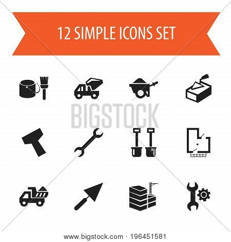 Set Of 12 Editable Structure Icons. Includes Symbols Such As Mending, Trolley, Plastering And More