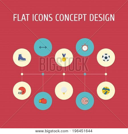 Flat Icons Ball, Boxing, Second Meter And Other Vector Elements