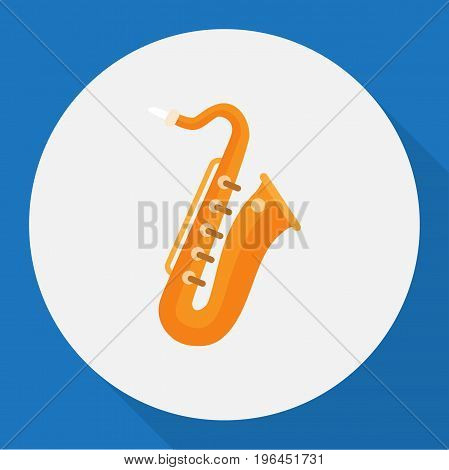 Vector Illustration Of Melody Symbol On Saxsaphone Flat Icon