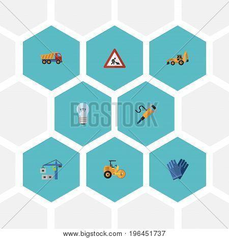 Flat Icons Excavator, Bulb, Pneumatic And Other Vector Elements