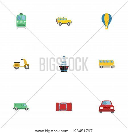 Flat Icons Jeep, Omnibus, Metro And Other Vector Elements
