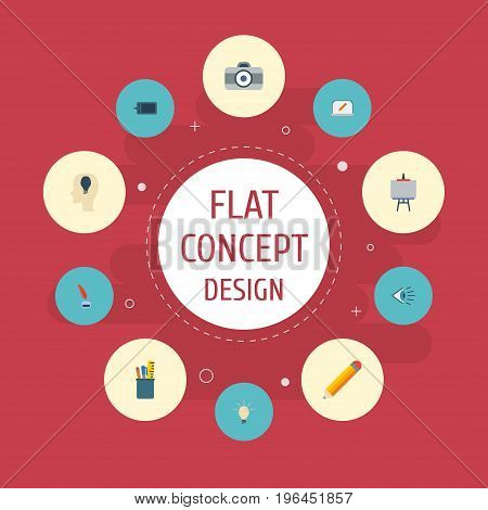 Flat Icons Pen, Concept, Photo And Other Vector Elements