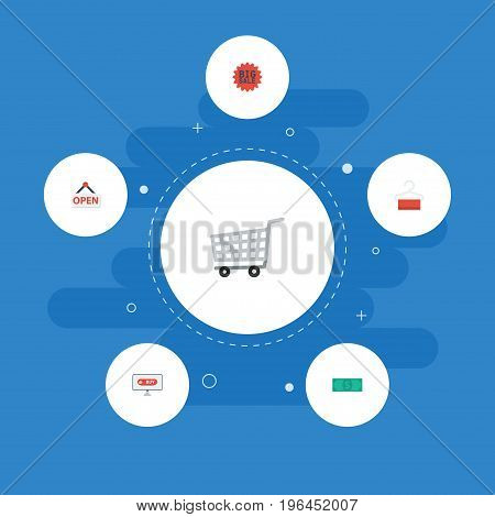Flat Icons Sign, Big Sale, Trolley And Other Vector Elements