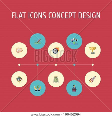 Flat Icons Rocket, Administration, Businessman And Other Vector Elements