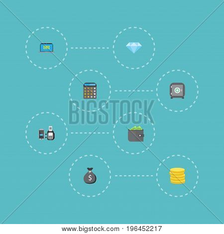 Flat Icons Finance Sack, Computer, Accounting And Other Vector Elements
