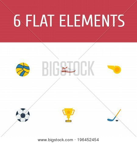 Flat Icons Blower, Shoes, Volleyball And Other Vector Elements