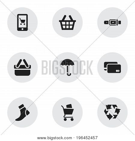 Set Of 9 Editable Trade Icons. Includes Symbols Such As Hosiery, Strap, E-Commerce And More