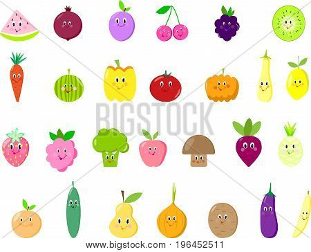 Cute fruits and vegetables isolated set vector