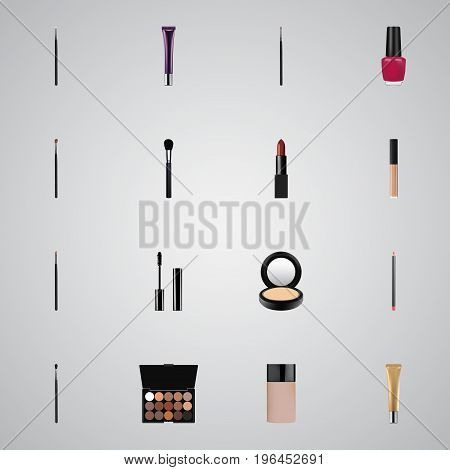 Realistic Concealer, Brush, Day Creme And Other Vector Elements