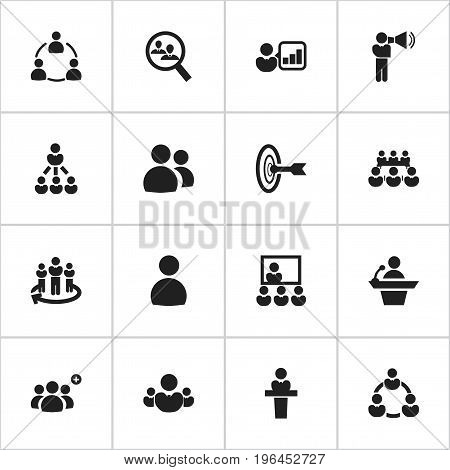 Set Of 16 Editable Community Icons. Includes Symbols Such As Leader, Debate, Leadership And More