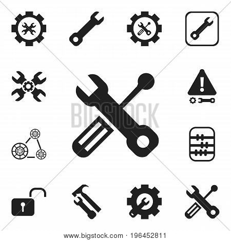 Set Of 12 Editable Toolkit Icons. Includes Symbols Such As Wrench Repair, Build Equipment, Arithmetic And More