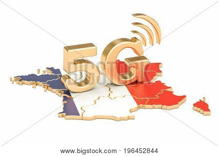 5G in France concept 3D rendering isolated on white background