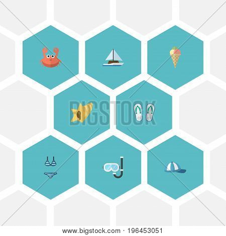 Flat Icons Sailboard, Cancer, Aqualung And Other Vector Elements