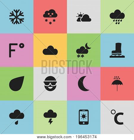 Set Of 16 Editable Climate Icons. Includes Symbols Such As Sun In Display, Drip, Fahrenheit And More