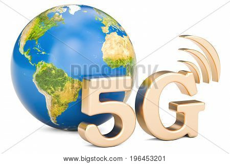 Global 5G concept 3D rendering isolated on white background