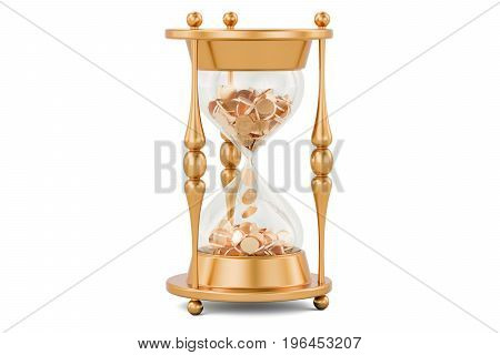 Gold coins inside hourglass 3D rendering isolated on white background