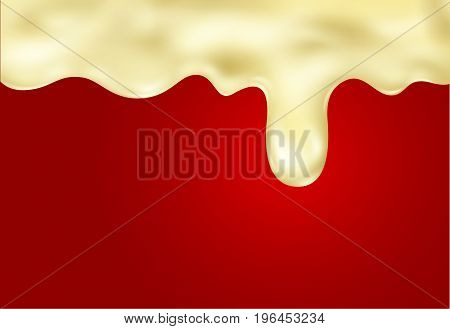 Custard wave with droplet. Vector realistic banner.