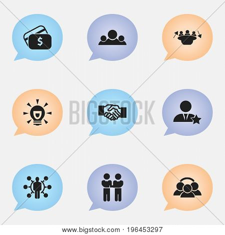 Set Of 9 Editable Trade Icons. Includes Symbols Such As Payment, Meeting, Talent And More