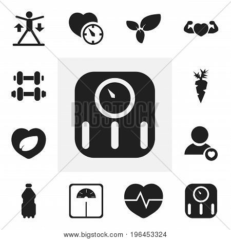 Set Of 12 Editable Sport Icons. Includes Symbols Such As Strong Love, Hand Barbell, Weight Measurement