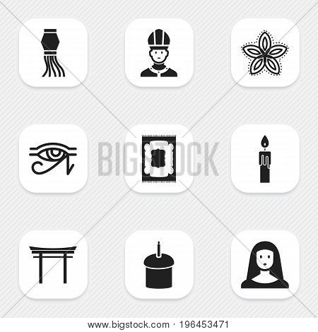 Set Of 9 Editable Dyne Icons. Includes Symbols Such As Indian Flower, Shinto, Muslim Carpet And More