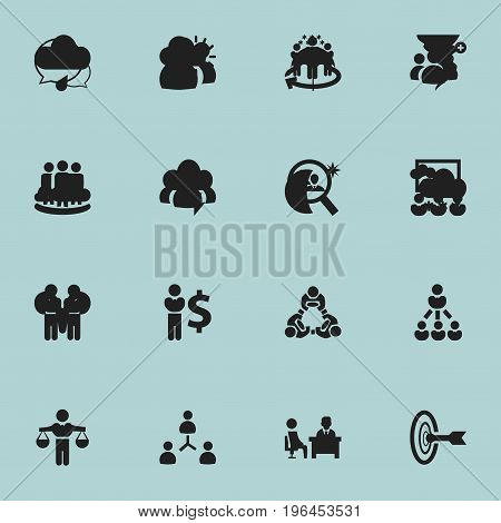Set Of 16 Editable Cooperation Icons. Includes Symbols Such As Agreement, Corporate, Leader And More