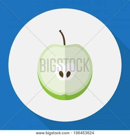 Vector Illustration Of Dessert Symbol On Apple Flat Icon