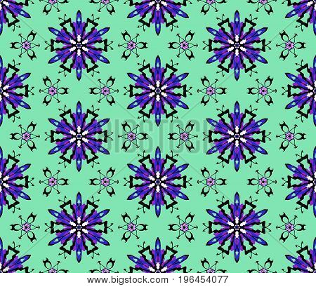 The green background on this seamless abstract pattern makes the purple and pink in the design jump off the page! It's ready for any size project you have in mind.