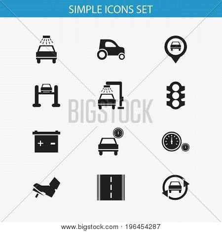 Set Of 12 Editable Vehicle Icons. Includes Symbols Such As Transport Clean, Stoplight, Speedometer And More