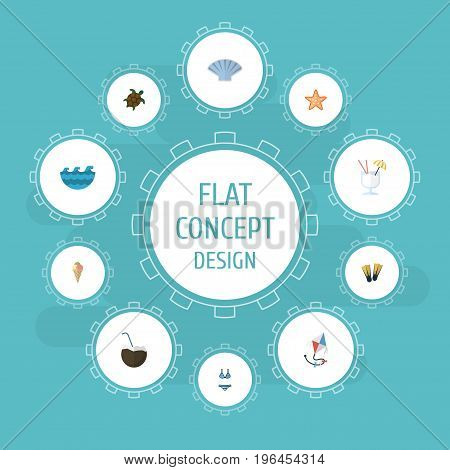 Flat Icons Beachwear, Sea Star, Drink And Other Vector Elements