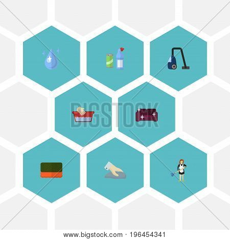 Flat Icons Clothes Washing, Sweeper, Towel And Other Vector Elements