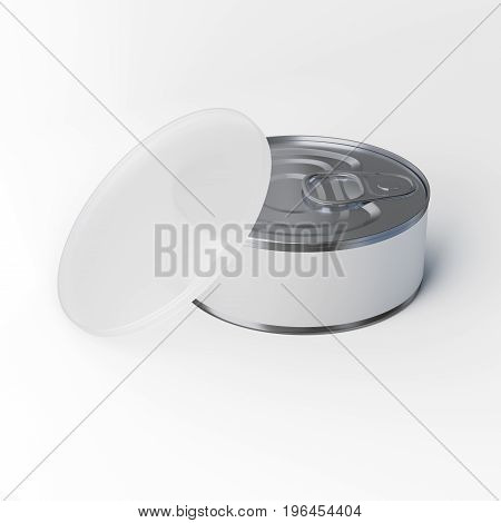 3D Rendering of labeled metallic Tin Can