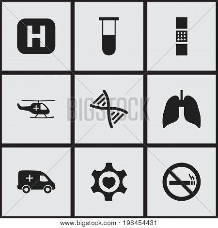 Set Of 9 Editable Hospital Icons. Includes Symbols Such As Heart, Emergency, Wound Band