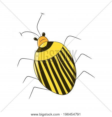 Bright striped yellow beetle in the style of children-s drawings. Vector illustration. Drawing by hand