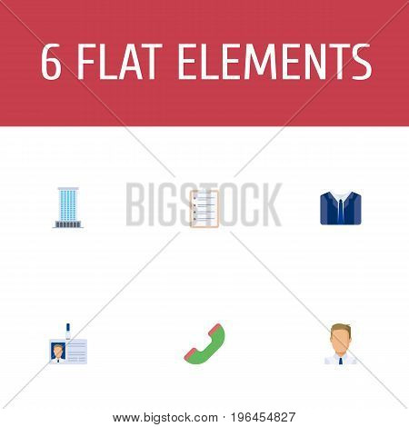Flat Icons Costume, Telephone, Employee And Other Vector Elements