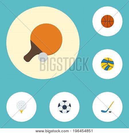 Flat Icons Golf, Table Tennis, Puck And Other Vector Elements